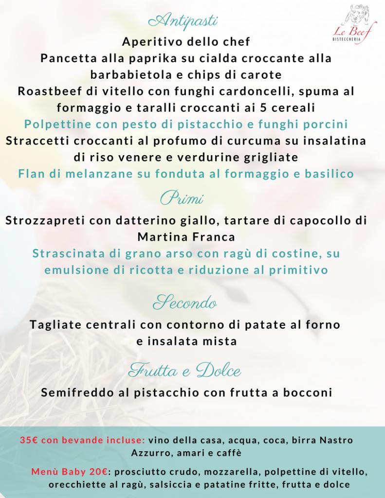 Menù Ristorante Pasquetta 2018 Bari
